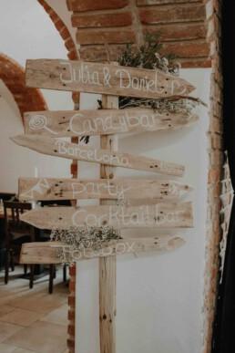 Schilder für Hochzeitsgesellschaft fotografiert von Martina Feicht Fotografie in Passau